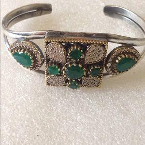 Vintage natural gemstone cuff